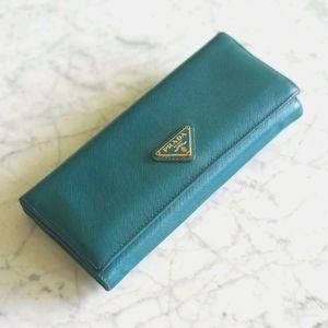 🌼 Authentic Prada long teal wallet